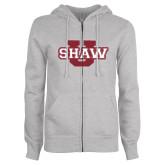 ENZA Ladies Grey Fleece Full Zip Hoodie-Shaw U Logo