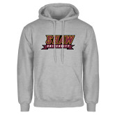 Grey Fleece Hoodie-Shaw University Stacked Logo