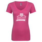Next Level Ladies Junior Fit Ideal V Pink Tee-Shaw University Primary