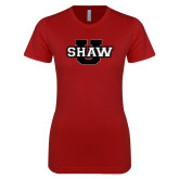 Next Level Ladies SoftStyle Junior Fitted Cardinal Tee-Shaw U