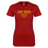 Next Level Ladies SoftStyle Junior Fitted Cardinal Tee-Lady Bears Sharp Net Basketball