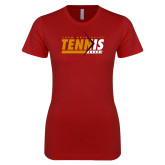Next Level Ladies SoftStyle Junior Fitted Cardinal Tee-Abstract Tennis Design