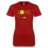 Next Level Ladies SoftStyle Junior Fitted Cardinal Tee-Love Tennis