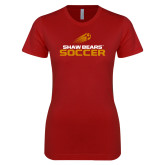 Next Level Ladies SoftStyle Junior Fitted Cardinal Tee-Soccer Shooting Ball