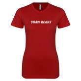 Next Level Ladies SoftStyle Junior Fitted Cardinal Tee-Primary Mark White Soft Glitter
