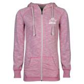 ENZA Ladies Hot Pink Marled Full Zip Hoodie-Shaw University Primary