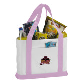 Contender White/Pink Canvas Tote-Shaw University Primary