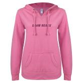 ENZA Ladies Hot Pink V Notch Raw Edge Fleece Hoodie-Primary Mark Pink Glitter