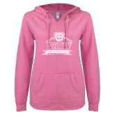 ENZA Ladies Hot Pink V Notch Raw Edge Fleece Hoodie-Shaw University Primary