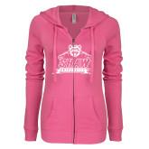ENZA Ladies Hot Pink Light Weight Fleece Full Zip Hoodie-Shaw University Primary