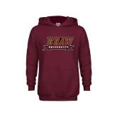 Youth Maroon Fleece Hoodie-Shaw University Stacked Logo