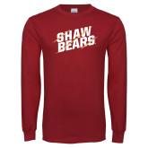 Cardinal Long Sleeve T Shirt-Shaw Bears Lined Design
