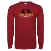 Cardinal Long Sleeve T Shirt-Soccer Half Ball Design