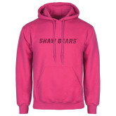 Fuchsia Fleece Hoodie-Primary Mark Hot Pink Glitter