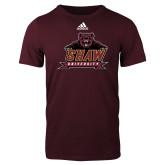 Adidas Maroon Logo T Shirt-Shaw University Primary
