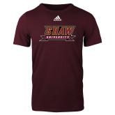Adidas Maroon Logo T Shirt-Shaw University Stacked Logo