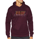 Adidas Maroon Team Issue Hoodie-Shaw University Stacked Logo