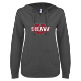 ENZA Ladies Dark Heather V Notch Raw Edge Fleece Hoodie-Shaw U