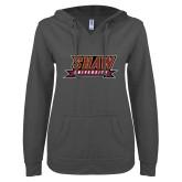 ENZA Ladies Dark Heather V Notch Raw Edge Fleece Hoodie-Shaw University Stacked Logo
