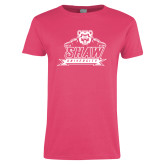 Ladies Fuchsia T Shirt-Shaw University Primary
