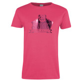 Ladies Fuchsia T Shirt-Shaw University Primary Foil