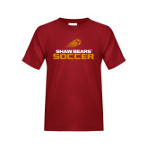 Youth Cardinal T Shirt-Soccer Shooting Ball