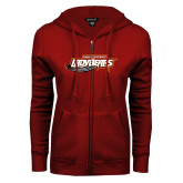 ENZA Ladies Cardinal Fleece Full Zip Hoodie-Lady Bears
