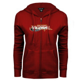 ENZA Ladies Cardinal Fleece Full Zip Hoodie-Volleyball