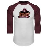 White/Maroon Raglan Baseball T Shirt-Shaw University Primary