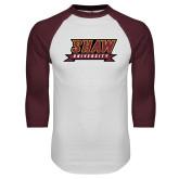 White/Maroon Raglan Baseball T Shirt-Shaw University Stacked Logo