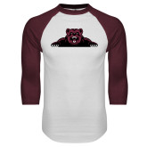 White/Maroon Raglan Baseball T Shirt-Bear Logo