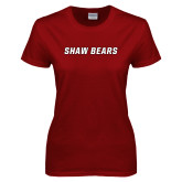 Ladies Cardinal T Shirt-Shaw Bears