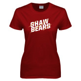 Ladies Cardinal T Shirt-Shaw Bears Lined Design