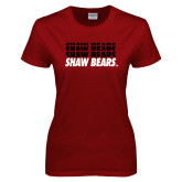 Ladies Cardinal T Shirt-Shaw Bears Repeating