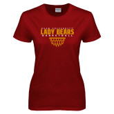 Ladies Cardinal T Shirt-Lady Bears Sharp Net Basketball