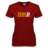 Ladies Cardinal T Shirt-Abstract Tennis Design