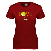 Ladies Cardinal T Shirt-Love Tennis