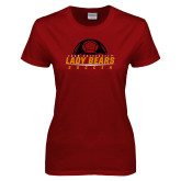 Ladies Cardinal T Shirt-Soccer Half Ball Design