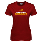 Ladies Cardinal T Shirt-Soccer Shooting Ball