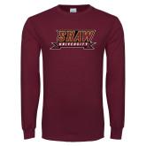 Maroon Long Sleeve T Shirt-Shaw University Stacked Logo