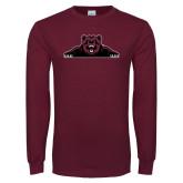 Maroon Long Sleeve T Shirt-Bear Logo