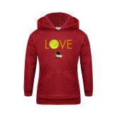 Youth Cardinal Fleece Hoodie-Love Tennis