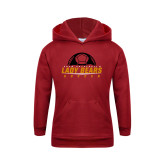 Youth Cardinal Fleece Hoodie-Soccer Half Ball Design