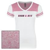 Ladies White/Bright Pink Juniors Varsity V Neck Tee-Shaw Bears Foil