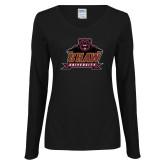Ladies Black Long Sleeve V Neck Tee-Shaw University Primary