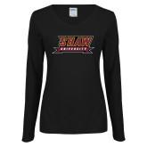 Ladies Black Long Sleeve V Neck Tee-Shaw University Stacked Logo