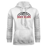 White Fleece Hoodie-Basketball Half Ball Design