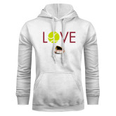 White Fleece Hoodie-Love Tennis