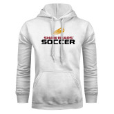 White Fleece Hoodie-Soccer Shooting Ball