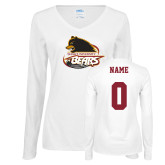 Ladies White Long Sleeve V Neck Tee-Primary Mark, Personalized Name and #